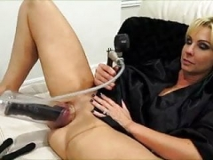 Alysha using toys and additionally pumping up her puss...