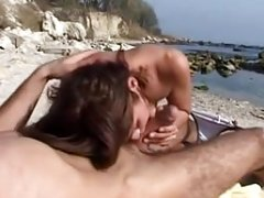 Backdoor sex with bulgarian bitch on the beach
