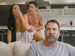 Cheating wife Sofi Ryan getting fucked standing up by husband's best friend