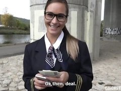 Awesome outdoor sex for money with a playful young stewardess