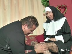 German Nun fucked by the Pastor in Church