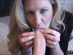 Ejaculant drops in her tight mature mouth