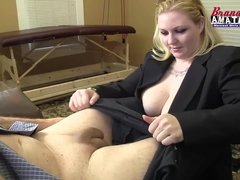Chubby blonde bares her man's cock to ride it with ass
