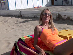 lady in orange bikini gets seduced