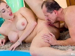 Blonde babe with big tits Victoria Summers gets cum covered at the pool