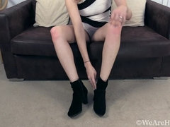 Ethel has sexy fun stripping naked on her couch