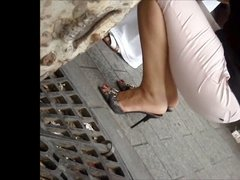 Mature legs & soles in high high-heeled shoes mules (best of)