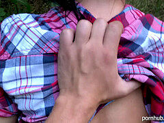 stiff outdoor pussyjob in public Park - he groped and jism on my pussy POV 4K