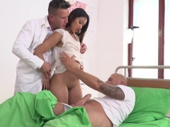Doctor and patient double penetrate tight Asian holes of nurse
