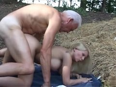 An Old Geezer Banging A Naughty Bitch outdoor