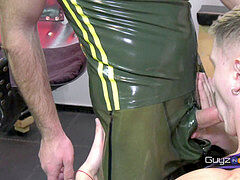 More from try Before you Buy. A Guy tries on Rubber Gear & boots & Plays Before he Buys