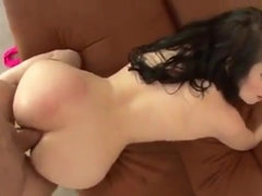 Attractive buxom darkhaired babe in brutal butt fucking