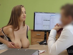 Agent drills juicy coed Suzie at the job interview