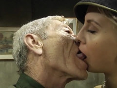 Old army soldier satisfies a juicy blonde