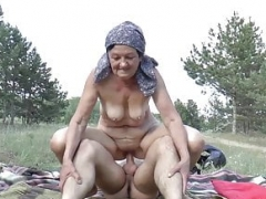 mom rough outdoor banged by a immature toyboy