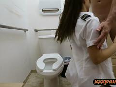 Hot latin stewardess railed by pawn man in the toilet