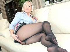 Polish Eager mom teasing in pantyhose