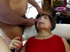 dame in red in anal group-fuck with three mistress