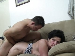 Granny seduced by excited young fella!