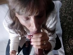 Hot grandmother close-up cock smoking drinks fat cumshot