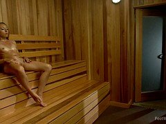 Nice Footjob In The Sauna