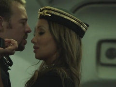 A sexy stewardess is getting fucked deeply on the plane