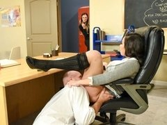 Slutty big-boobed teacher Karlee Grey fucked in the missionary pose