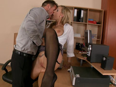 Lazy secretary Tanya Tate punished by her boss