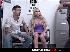 Big Tits Blonde Big arse milf Stepmom Cashier Christie Stevens plowed By Security After Shoplifting Stepson Has Stolen Merchandise