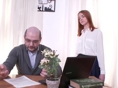 Innocent looking redhead Ruslana seduces her teacher