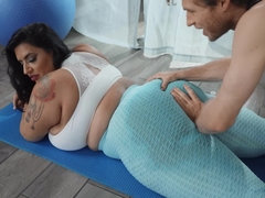 Enormous Latina fell in love with her hot yoga teacher