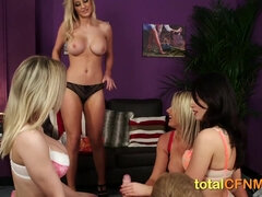 Lucky guy gets a handjob from babes in lingerie - group sex