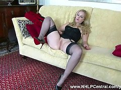 Blonde Aston Wilde strip tease in vintage lingerie heels black nylons slips down sheer panties and wanks