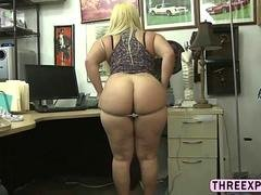 Big booty bitch gets fucked in pawn shop for a big chunk of cash