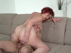 Granny Marsha get eaten out & fucked by a young stud