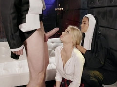 Nun and blonde are being fucked by one big-dicked dude