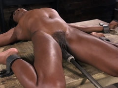 Fucking machine will be the reason for Ebony submissive's orgasm