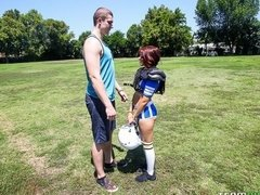 Redhead cheerleader Luna X opens her tight crack for a big cock