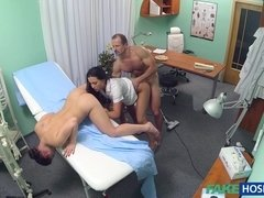 Sexual Madness In Gyno Doctor Cabinet! Mind-Blowing Threesome!
