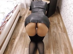 Large tooshie young wife with no panties in tight dress