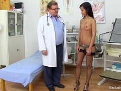 Girl with small tits visiting gyno clinic for bizarre cunt inspection
