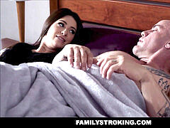 warm MILF Stepmom And Teen Stepdaughter Fuck Lucky Male cousin 3 way