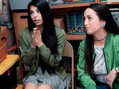 Two slutty shoplifters Mi Ha Doan and Gina Valentina are fucking with a policeman