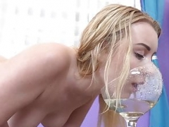 Sexy Blonde Laps Up Her Golden Pee
