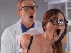 Intern drills asshole of busty doctor as a part of an experiment