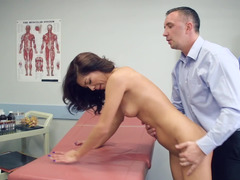 A bimbo is in the exam room, fucked by the horny doctor