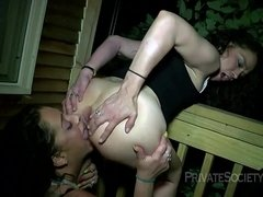 Crazy lesbian ass licking scene late night outdoor