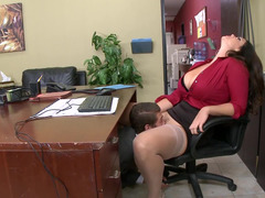 A busty thing that has a big ass is getting fucked in the office