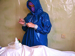 Real nurse, nurse gloves handjob, protective suit