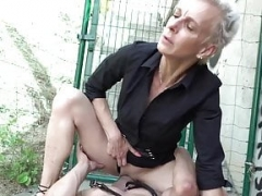 Female domination Underweight Granny Bangs Twink Slave in Public!